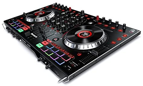 Numark NS6II - 4-Channel DJ Controller For Serato DJ (Included) With Dual USB Ports For Handoffs, 2-Inch Colour LCD Displays, Standalone Digital Mixer, 6-Inch Jog Wheels and MPC Performance Pads