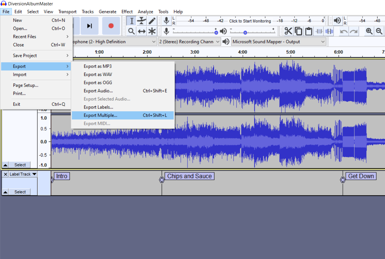 Create A Gapless Album Export Multiple Options In Audacity