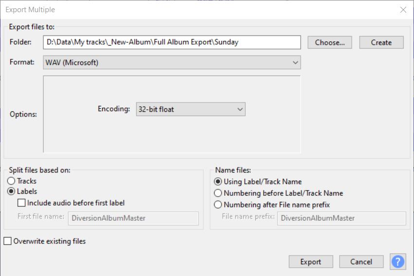 Create A Gapless Album Export Multiple Labels