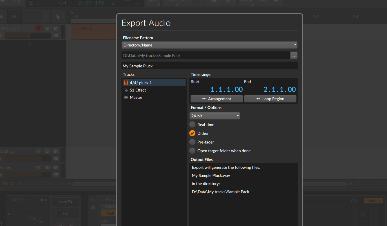 Create A Sample Pack Export Midi In Bitwig Studio