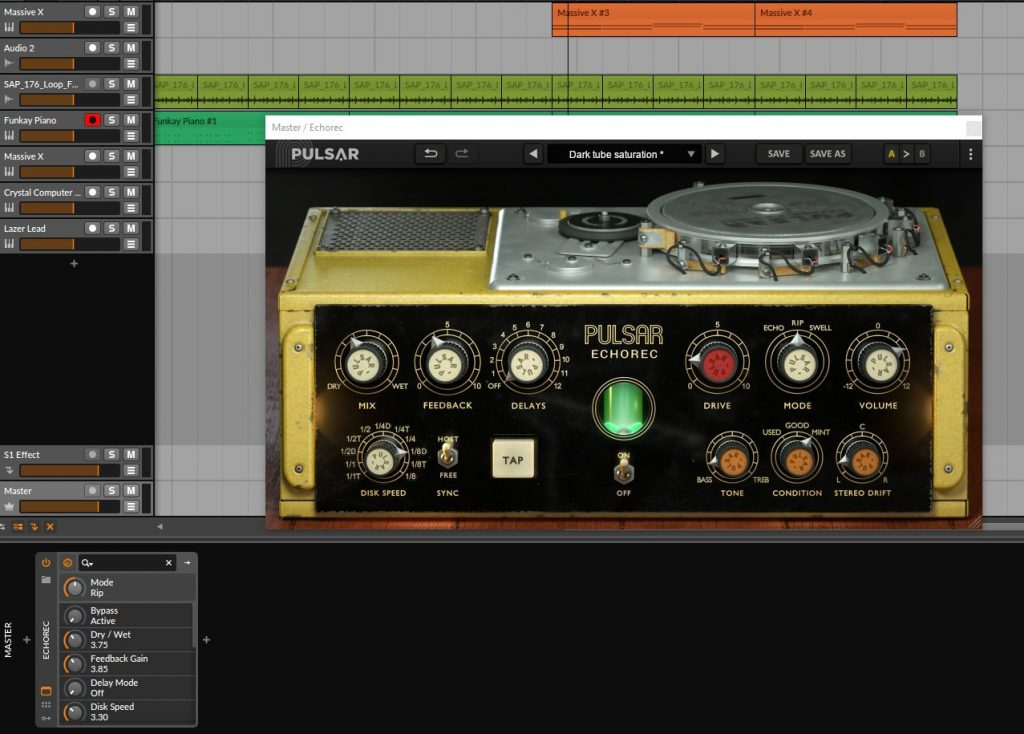 Part Time Producer Uses Echorec Review On The Master Buss At Parttimeproducer.com With Bitwig Studio